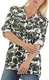 Malito Damen Bluse im Camouflage Look   Tunika mit ¾ Armen   Blusenshirt mit Knopfleiste   Elegant - Shirt 3784 (weiß)