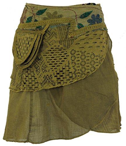 Olive Damen Rock (Guru-Shop Extravaganter Wickelrock mit Stickerei, Seitlicher Kleinen Tasche, Damen, Olive, Baumwolle, Size:40, Kurze Röcke Alternative Bekleidung)