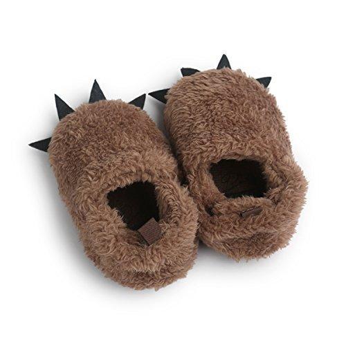 DREAMOWL Junge Wolf Paw Slippers Kunstpelz BearFuzzy Klaue Hausschuhe für Babys Kleinkinder Dusche Geschenk 12-18 Monate ()