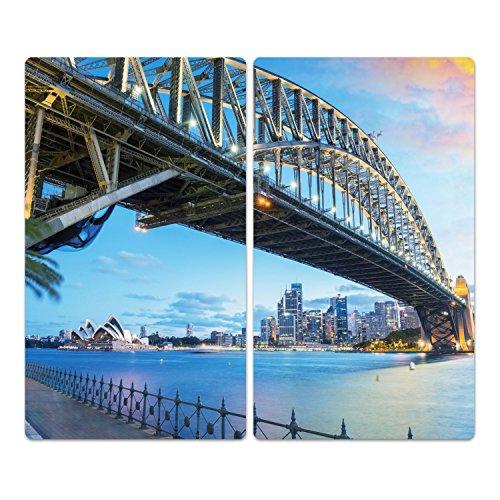 DekoGlas Herdabdeckplatten Set inkl. Noppen aus Glas 'Brücke nach Sydney', Herd Ceranfeld Abdeckung, 2-teilig universal 2X 52x30 cm