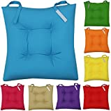 NEW COLOURFUL SEAT PAD DINING ROOM GARDEN KITCHEN CHAIR CUSHIONS - VELCRO TIE ON (Blue)
