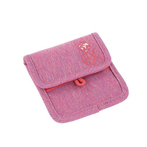Lässig Mini Neck Pouch Brustbeutel Brusttasche Kleingeldtasche, Kordel mit Kindersicherung, Namensschild, Karabiner für Schlüssel, Little Monsters Navy Korall rosa