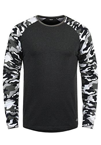 !Solid Cajus Herren Longsleeve Langarmshirt Shirt Mit Camouflage-Muster Und Rundhals-Ausschnitt Aus 100{1f7b28a10cdf091f3f18213e0503e129b83a7e6bbf27fbb0e1688ea0a2816679} Baumwolle, Größe:L, Farbe:Dark Grey Melange (8288)