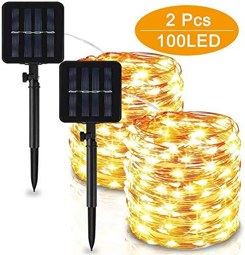 Solar Lichterkette Aussen, Vivibel 2 Stück 10M 100 LED LED Lichterkette Außen Wasserdicht KupferDraht 8 Modus Solarlichterkette Deko für Garten, Bäume, Weihnachten, Hochzeiten, Partys(Warmweiß)