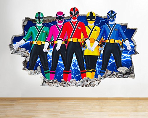 Image of I025 Power Rangers Samurai Kids TV Smashed Wall Decal 3D Art Stickers Vinyl Room(Large (90x52cm))
