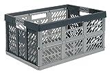 5 Stück x 45 Liter extra stark Klappbox Kunststoff stapelbar Aufbewahrung Kisten Boxen – 45 kg Tragkraft pro Box – weiche Griffe