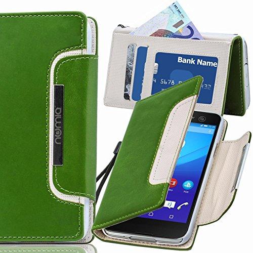 numia Sony Xperia E1 Hülle, Handyhülle Handy Schutzhülle [Book-Style Handytasche mit Standfunktion und Kartenfach] Pu Leder Tasche für Sony Xperia E1 Dual Case Cover [Grün-Weiss]