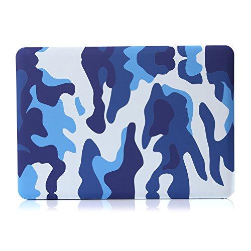 Se7enline Sanfte Schutzschale, Kunststoff, mit schwarzem Tastaturschutz aus Silikon und transparenter Displayschutzfolie, Design: schwarze Kreise, für Macbook Blau Camouflage