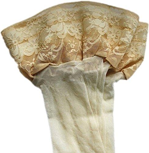 Halterlose Strümpfe 20 den leicht glänzend versch. Spitzenabschlüsse mit Silikon alle Farben und Größen für Braut Hochzeit (XXL, creme)