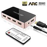 Commutateur Audio Extractor 4K - ONEDAY Switch Nintendo Audio Optical 5.1 Dolby Surround System Ultra HD TOSLINK Out 60HZ | Télécommande IR pour Macbook HDTV Laptop TV Stick DVD PS4 etc [ Rose Doré ]