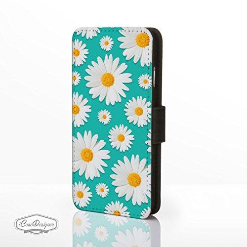 Daisy Muster Kunstleder Flip Cases für iPhone Modelle. Süß Floral Designs von icasedesigner, Kunstleder, Design 10: Small Daisies on Cerise Pink, iPhone 5c Design 7: Daisies on Turquiose