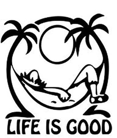 Life is Good at the Beach Decal Vinyl Sticker Cars Trucks Walls Laptop BLACK 5.5 In KCD465