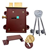 Ramson Dyna Queen 8 Levers 125 Mm 3 Keys Double Chal Door Inter Lock With A Towerbolt ( 2 In One) ,(Very Heavy Body) (Brass_123)