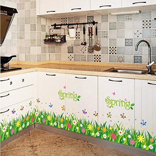 Xzfddn Kindergarten Flur Gang Soutline Linie Fuß Linie Schiebetür Wand Klebrige Gras Schmetterling Wandaufkleber Fensterglas Aufkleber