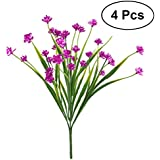 Vosarea Artificial Fake Flowers, 4pcs Faux Rose Red Daffodils Greenery Shrubs Plants Plastic Bushes Indoor Outside Hanging Planter Wedding Cemetery Decor