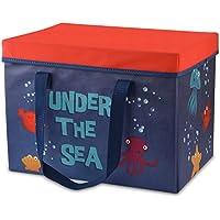 Tumama Caja de almacenamiento plegable para juguetes con alfombra de juego, dormitorio, sala de estar plegable, baúl de juguete para el hogar, cubo, cesta con tapa para DVD, libros, colada
