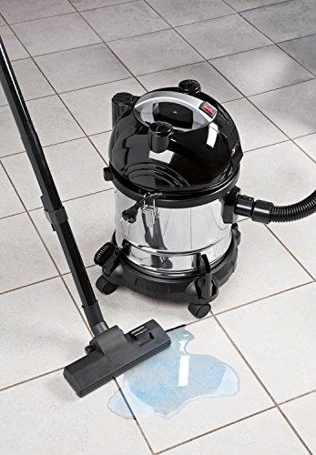 Clatronic BS 1285 Aspiradora en seco y húmedo, depósito 20 l, 1600 W, 20 litros, 1 Decibeles, Negro, Acero Inoxidable