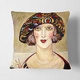 BIG Box Art Gerda Wegener Lady weiß, die Polster Überwurf Kissen, Mehrfarbig, 43x 43cm