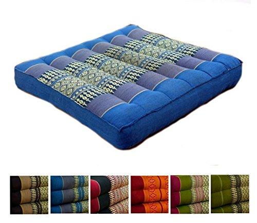 Kapok Sitzkissen 35x35x6,5Cm Der Marke Livasia, Optimal Als Stuhlauflage Oder Meditationskissen, Bodenkissen, Stuhlkissen (Hellblau)
