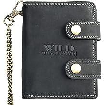 Billetera Wild gris oscuro estilo motero de cuero con cadena de metal