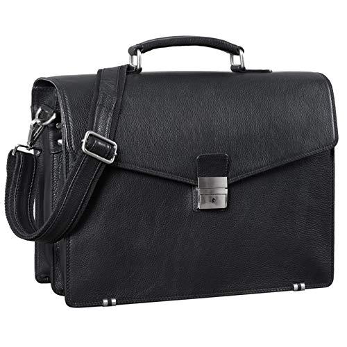 STILORD \'Cosmos\' Vintage Aktentasche Leder Groß für Herren Businesstasche mit Laptop-Fach Umhängetasche XL für Büro Arbeit mit Schloss echtes Leder, Farbe:schwarz