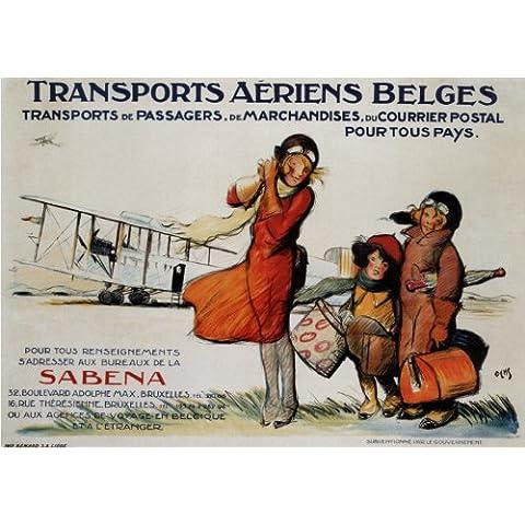 Vintage Travel Belgio con Sabena Aeriens trasporta C1924250gsm Lucido Art