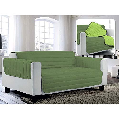 Fazzi copridivano trapuntato in microfibra doubleface verde mela/verde scuro 3 posti