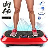 MUPAI Plateforme Vibrante et Oscillante, Plaque vibrante Triple Moteur 4D, avec Bluetooth + Bande de Changement de Couleur 3 Couleurs + Cordon de Serrage, Fitness et Corps Entier, 78x45x14.5cm