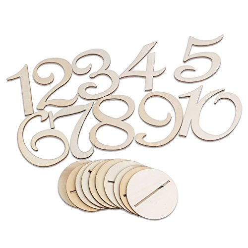 Pixnor Holz 10cm Tischnummern 1-10 Basis-Set Hochzeit Geburtstagsparty Französisch