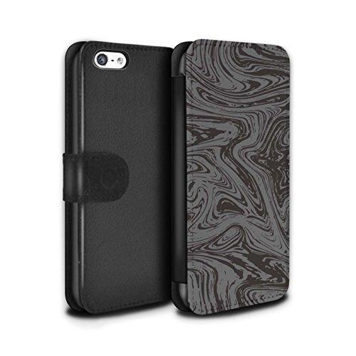 Stuff4 Coque/Etui/Housse Cuir PU Case/Cover pour Apple iPhone 5C / Rouge/Rose Design / Effet Métal Liquide Fondu Collection Argent