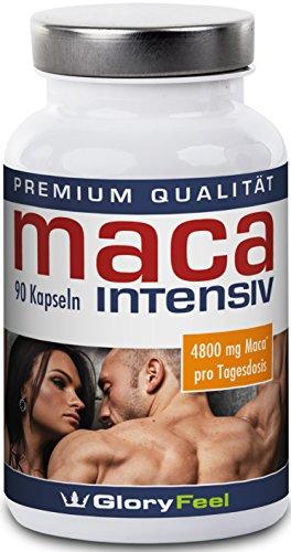 Maca Intensiv 4800mg - Maca Kapseln Hochdosiert Ohne Magnesiumstearate - Mit Tribulus Terrestris, Vitamin B6, B12, C und Zink - 90 Vegane Kapseln - Nahrungsergänzung von GloryFeel