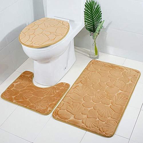 Hete-supply Badezimmerteppich-Set, 3-teilig, Flanell, 3D-Muster, extra weicher Duschvorleger, Badvorleger, Badvorleger, Badvorleger, Rutschfester WC-Deckel, Kontur Badematte für Dusche, WC g
