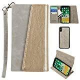 CellularOutfitter Apple iPhone X Ultrasuede Block Flap Wallet Case - Metallic Design w/Detachable Matching Case and Wristlet - Gray/Gold