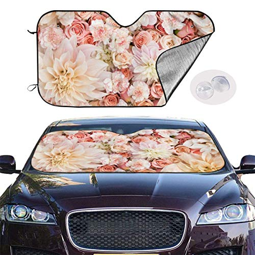 ghkfgkfgk Car Sun Shade SUV Trucks Automotive Minivan UV Sun Heat Reflector Visor Protector Front Window Sunshade-Petal Roses Blush Pink -