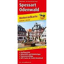 Spessart - Odenwald: Motorradkarte mit GPS-Tracks zum kostenlosen Download, Ausflugszielen, Bikertreffs, Einkehrtipps und Tourenvorschlägen. GPS-genau. 1:200000 (Motorradkarte/MK)