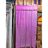 Mogul Interior Indian Sari Curtains Purple Golden Color Silk Saree Drapes Window Panels