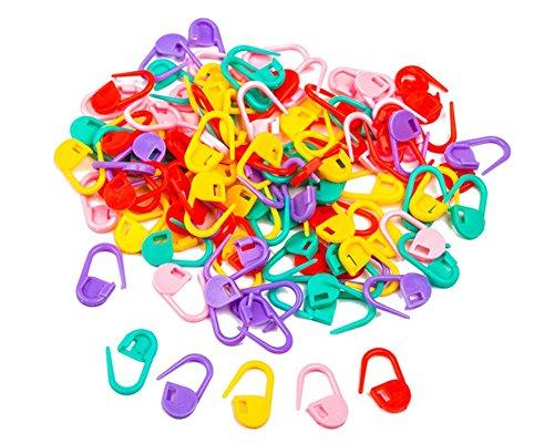Dosige 100Stk Sperren Maschenmarkierer Stricken Craft Stitch Nadel Clip Zähler mit Aufbewahrungsbox sortiert Farbe -