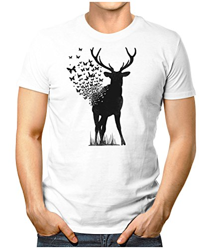 PRILANO Herren Fun T-Shirt - DEER-BUTTERFLY - Small bis 5XL - NEU Weiß