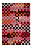 Esprit I Kurzflor Teppich aus Wolle I Pixel I rot orange grau Silber pink I (70 x 140 cm)