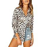 TianWlio Damen Langarmshirt Bluse T-Shirt Tops Frauen Herbst Winter Lässige Leopard Drucken Fronttasche Taste hoch Langarm Shirt Top Bluse