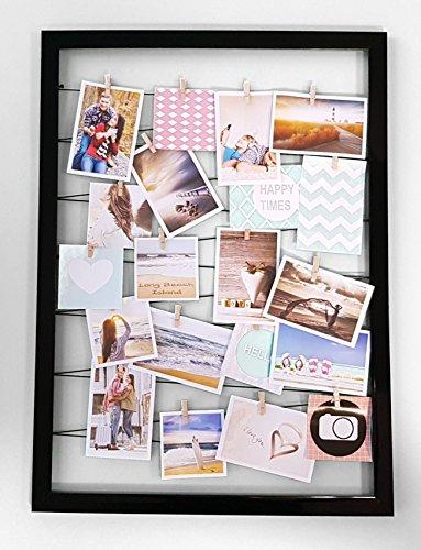 Fotohalter 75x55 cm schwarz - Gummileine mit 20 Holz Klammern - Fotorahmen Bilder Rahmen Galerie