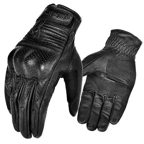 INBIKE Motorrad Handschuhe Herren Damen Winter Sommer Echtes Leder Motorradhandschuhe Warm Atmungsaktiv Und Verschleißfest Mit Harter Schutzhülle,Schwarz M