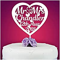 PERSONALISED Wedding/Anniversary Cake Topper - Personalise with ANY SURNAME - Food Safe Acrylic Cake Decoration - Mr And Mrs NAME - Made from Strong 3mm Coloured Acrylic - Different Colours to Choose