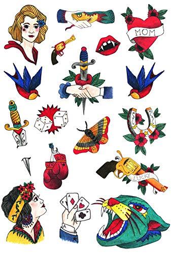 Set di tatuaggi old school, design originali oldschool, tatuaggi finti per feste, tatuaggi lavabili per uomo e donna, vintage disegni unici ed originali