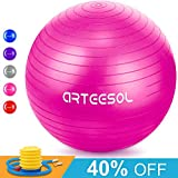 Arteesol Gymnastikball, Balance Ball 45cm/55cm/65cm/75cm Yoga Ball mit Pumpe Anti-Burst Fitness Balance Ball für Core Strength -