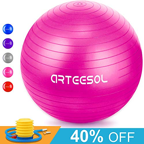 Arteesol Gymnastikball, Balance Ball 45cm/55cm/65cm/75cm Yoga Ball mit Pumpe Anti-Burst Fitness Balance Ball für Core Strength