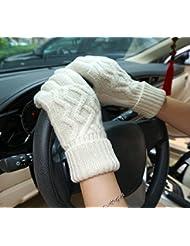 Longless La señora otoño e invierno guantes hechos a mano de lana al aire libre caliente pantalla táctil guantes de punto