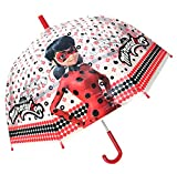 Chanos Chanos Miraculous Lady Bug Manual Dome Shape Poe Transparent Folding Umbrella, 45 cm, Red and White Parapluie Pliant, Rouge (Red White)