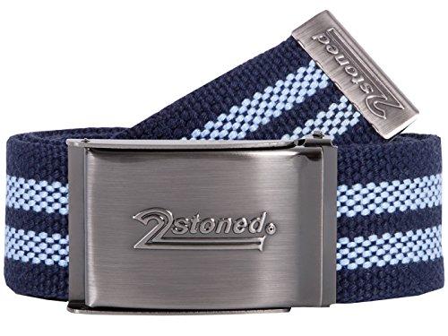 2Stoned Tresor-Gürtel Geldgürtel Navy-Sky 4 cm breit Matte Schnalle Speed, Safe Belt für Damen und Herren -
