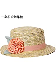 Pajarita Flores El sombrero de paja Sombrero de Paja El despunte de sombreros de playa femenina